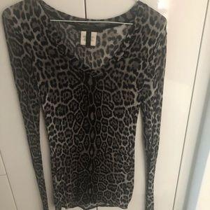 BCBG MAXAZRIA Leopard Print V-Neck Top